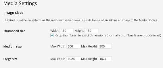 WordPress image size setting in dashboard